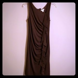 Brown roushed dress sleeveless cato